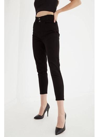Modaset Beli Büzgülü Mom  Pantolon Siyah Siyah